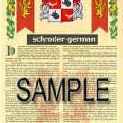 SCHRODER - GERMAN - Armorial Name History - Coat of Arms - Family Crest GIFT! 8.5x11