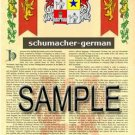 SCHUMACHER - GERMAN - Armorial Name History - Coat of Arms - Family Crest GIFT! 8.5x11