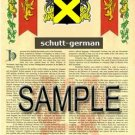 SCHUTT - GERMAN - Armorial Name History - Coat of Arms - Family Crest GIFT! 8.5x11