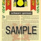 SCHWARZ - GERMAN - Armorial Name History - Coat of Arms - Family Crest GIFT! 8.5x11