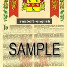 SEABOLT - ENGLISH - Armorial Name History - Coat of Arms - Family Crest GIFT! 8.5x11