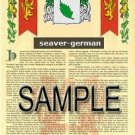 SEAVER - GERMAN - Armorial Name History - Coat of Arms - Family Crest GIFT! 8.5x11