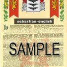 SEBASTIAN - ENGLISH - Armorial Name History - Coat of Arms - Family Crest GIFT! 8.5x11