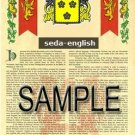 SEDA - ENGLISH - Armorial Name History - Coat of Arms - Family Crest GIFT! 8.5x11
