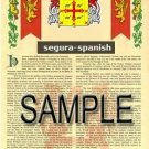 SEGURA - SPANISH - Armorial Name History - Coat of Arms - Family Crest GIFT! 8.5x11