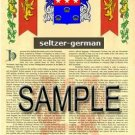SELTZER - GERMAN - Armorial Name History - Coat of Arms - Family Crest GIFT! 8.5x11