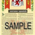 SERRANO - SPANISH - Armorial Name History - Coat of Arms - Family Crest GIFT! 8.5x11