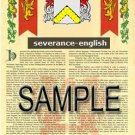 SEVERANCE - ENGLISH - Armorial Name History - Coat of Arms - Family Crest GIFT! 8.5x11