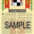 SEVIGNY - FRENCH - Armorial Name History - Coat of Arms - Family Crest GIFT! 8.5x11