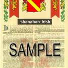 SHANAHAN - IRISH - Armorial Name History - Coat of Arms - Family Crest GIFT! 8.5x11