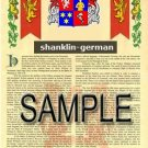 SHANKLIN - GERMAN - Armorial Name History - Coat of Arms - Family Crest GIFT! 8.5x11