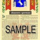 SHAVERS - GERMAN - Armorial Name History - Coat of Arms - Family Crest GIFT! 8.5x11