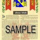 SHEA - IRISH - Armorial Name History - Coat of Arms - Family Crest GIFT! 8.5x11