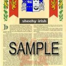 SHEEHY - IRISH - Armorial Name History - Coat of Arms - Family Crest GIFT! 8.5x11