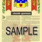 SHENK - GERMAN - Armorial Name History - Coat of Arms - Family Crest GIFT! 8.5x11