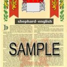 SHEPHARD - ENGLISH - Armorial Name History - Coat of Arms - Family Crest GIFT! 8.5x11