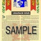 SHERLOCK - IRISH - Armorial Name History - Coat of Arms - Family Crest GIFT! 8.5x11