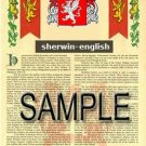 SHERWIN - ENGLISH - Armorial Name History - Coat of Arms - Family Crest GIFT! 8.5x11