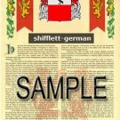 SHIFFLETT - GERMAN - Armorial Name History - Coat of Arms - Family Crest GIFT! 8.5x11
