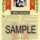 SHINE - GERMAN - Armorial Name History - Coat of Arms - Family Crest GIFT! 8.5x11