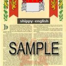 SHIPPY - ENGLISH - Armorial Name History - Coat of Arms - Family Crest GIFT! 8.5x11