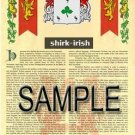 SHIRK - IRISH - Armorial Name History - Coat of Arms - Family Crest GIFT! 8.5x11