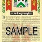 SHOCKLEY - ENGLISH - Armorial Name History - Coat of Arms - Family Crest GIFT! 8.5x11
