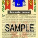 SHOEMAKE - GERMAN - Armorial Name History - Coat of Arms - Family Crest GIFT! 8.5x11