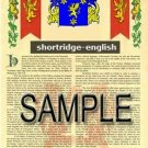 SHORTRIDGE - ENGLISH - Armorial Name History - Coat of Arms - Family Crest GIFT! 8.5x11