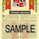 SHROYER - GERMAN - Armorial Name History - Coat of Arms - Family Crest GIFT! 8.5x11