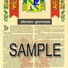 SHRUM - GERMAN - Armorial Name History - Coat of Arms - Family Crest GIFT! 8.5x11
