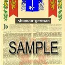 SHUMAN - GERMAN - Armorial Name History - Coat of Arms - Family Crest GIFT! 8.5x11
