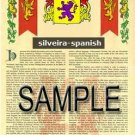 SILVEIRA - SPANISH - Armorial Name History - Coat of Arms - Family Crest GIFT! 8.5x11