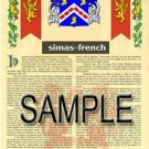 SIMAS - FRENCH - Armorial Name History - Coat of Arms - Family Crest GIFT! 8.5x11