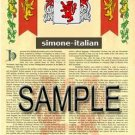 SIMONE - ITALIAN - Armorial Name History - Coat of Arms - Family Crest GIFT! 8.5x11