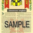 SIMONSON - ENGLISH - Armorial Name History - Coat of Arms - Family Crest GIFT! 8.5x11