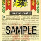 SIMPSON - ENGLISH - Armorial Name History - Coat of Arms - Family Crest GIFT! 8.5x11
