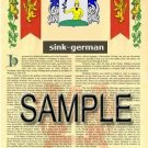 SINK - GERMAN - Armorial Name History - Coat of Arms - Family Crest GIFT! 8.5x11