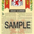 SLOAN - SCOTTISH - Armorial Name History - Coat of Arms - Family Crest GIFT! 8.5x11