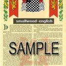SMALLWOOD - ENGLISH - Armorial Name History - Coat of Arms - Family Crest GIFT! 8.5x11