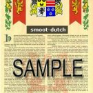 SMOOT - DUTCH - Armorial Name History - Coat of Arms - Family Crest GIFT! 8.5x11