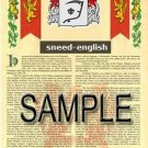 SNEED - ENGLISH - Armorial Name History - Coat of Arms - Family Crest GIFT! 8.5x11