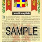 SNELL - ENGLISH - Armorial Name History - Coat of Arms - Family Crest GIFT! 8.5x11