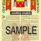 SNELLING - ENGLISH - Armorial Name History - Coat of Arms - Family Crest GIFT! 8.5x11