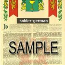 SNIDER - GERMAN - Armorial Name History - Coat of Arms - Family Crest GIFT! 8.5x11