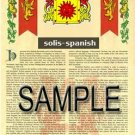 SOLIS - SPANISH - Armorial Name History - Coat of Arms - Family Crest GIFT! 8.5x11