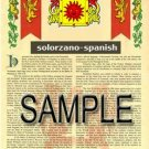 SOLORZANO - SPANISH - Armorial Name History - Coat of Arms - Family Crest GIFT! 8.5x11