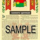 SOMERS - GERMAN - Armorial Name History - Coat of Arms - Family Crest GIFT! 8.5x11