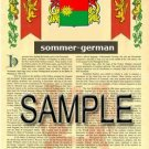 SOMMER - GERMAN - Armorial Name History - Coat of Arms - Family Crest GIFT! 8.5x11