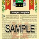 SONGER - ENGLISH - Armorial Name History - Coat of Arms - Family Crest GIFT! 8.5x11
